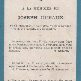 Floriffoux – souvenirs mortuaires – les patronymes DUFAUX
