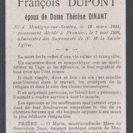 Franière – souvenirs mortuaires – les patronymes DUPONT