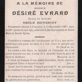 Franière – souvenirs mortuaires – les patronymes EVRARD