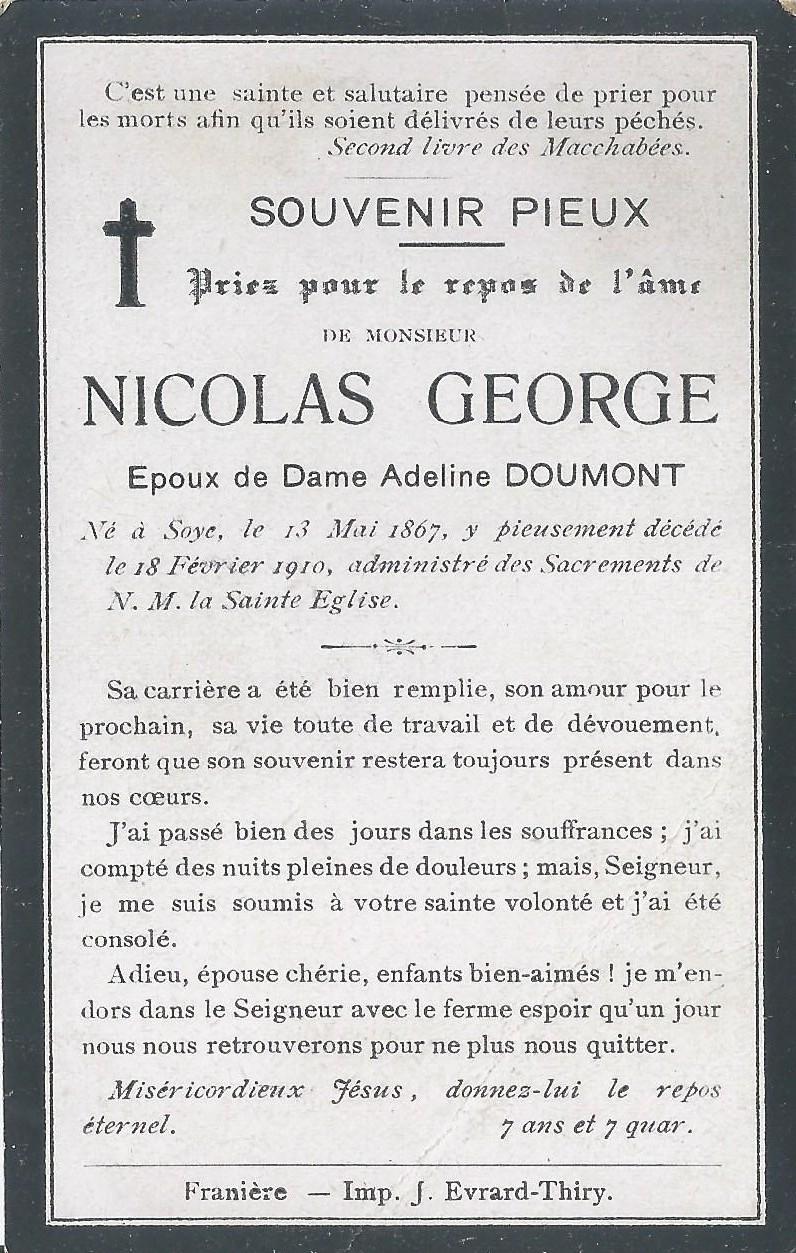Soye – souvenirs mortuaires – les patronymes GEORGE