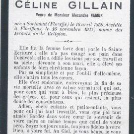 Floriffoux – souvenirs mortuaires – les patronymes GILLAIN