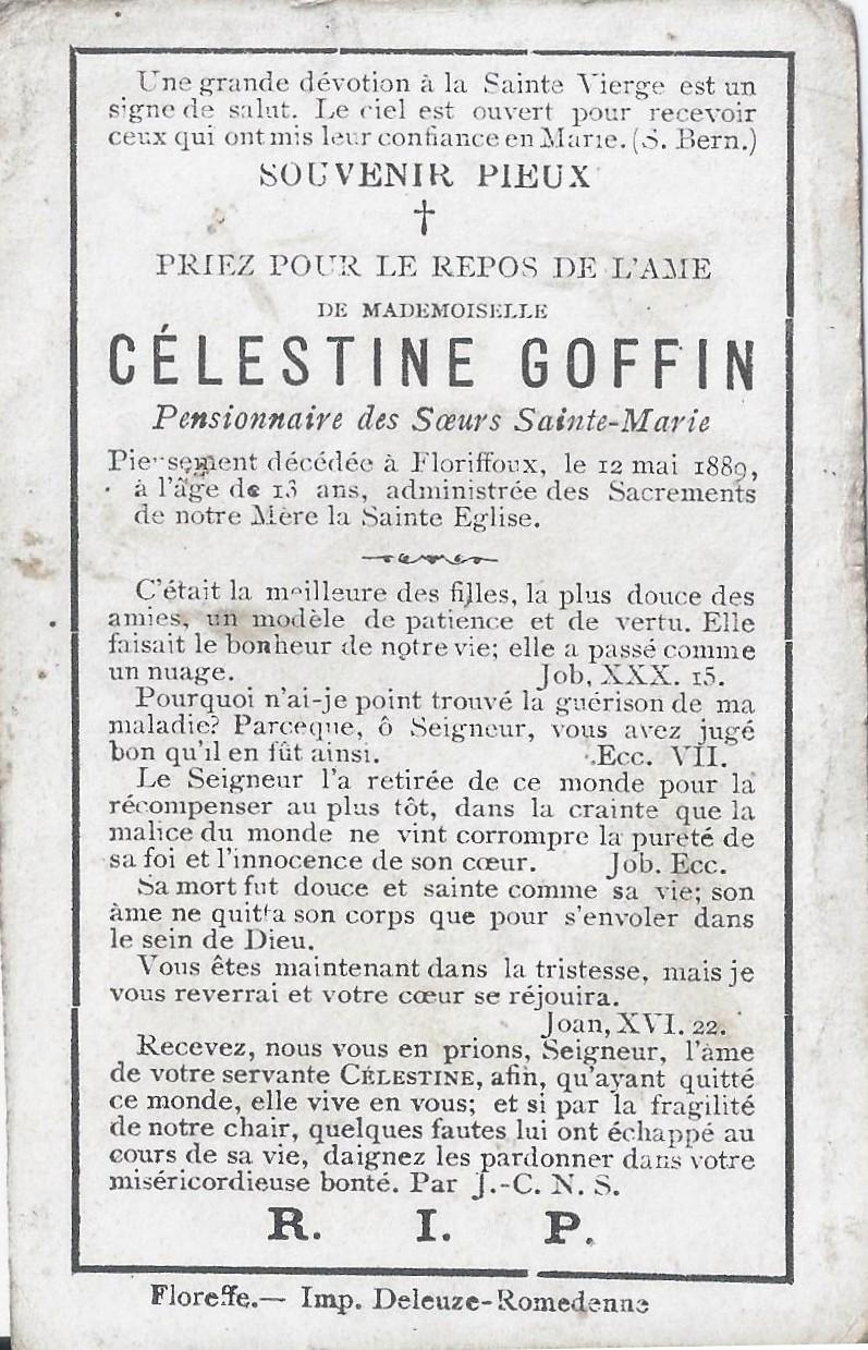 Floriffoux – souvenirs mortuaires – les patronymes GOFFIN