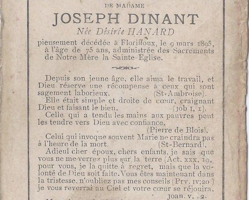 Floriffoux – souvenirs mortuaires – les patronymes HANARD