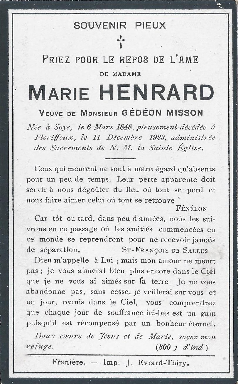 Floriffoux – souvenirs mortuaires – les patronymes HENRARD