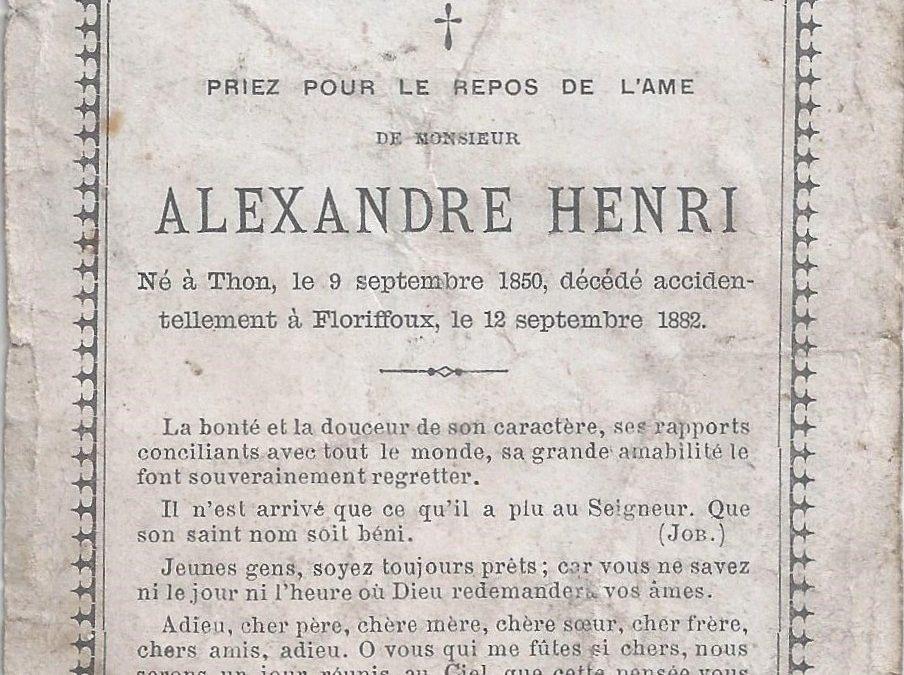 Floriffoux – souvenirs mortuaires – les patronymes HENRI