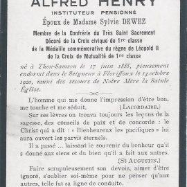 Floriffoux – souvenirs mortuaires – les patronymes HENRY