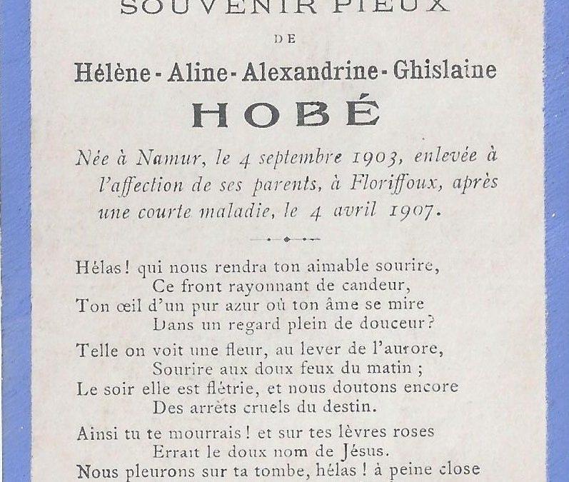 Floriffoux – souvenirs mortuaires – les patronymes HOBE