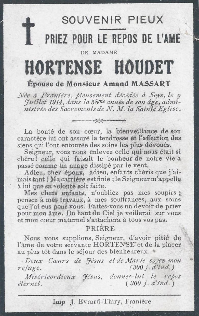 Soye – souvenirs mortuaires – les patronymes HOUDET
