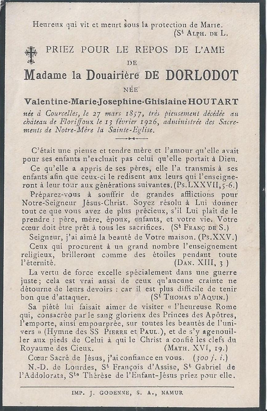 Floriffoux – souvenirs mortuaires – les patronymes HOUTART