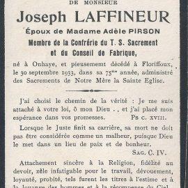 Floriffoux – souvenirs mortuaires – les patronymes LAFFINEUR