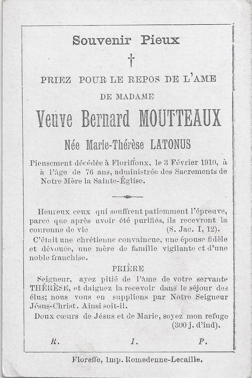 Floriffoux – souvenirs mortuaires – les patronymes LATONUS
