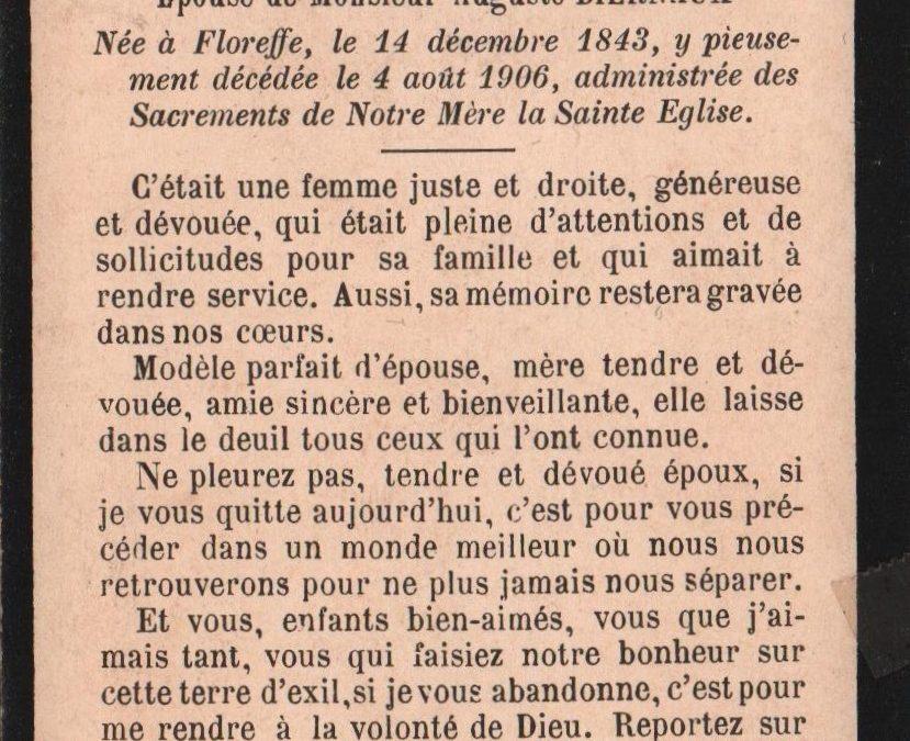 Floreffe – souvenirs mortuaires – les patronymes LEBEGUE