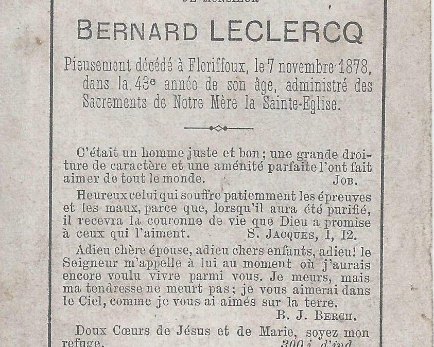 Floriffoux – souvenirs mortuaires – les patronymes LECLERCQ