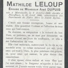 Floriffoux – souvenirs mortuaires – les patronymes LELOUP