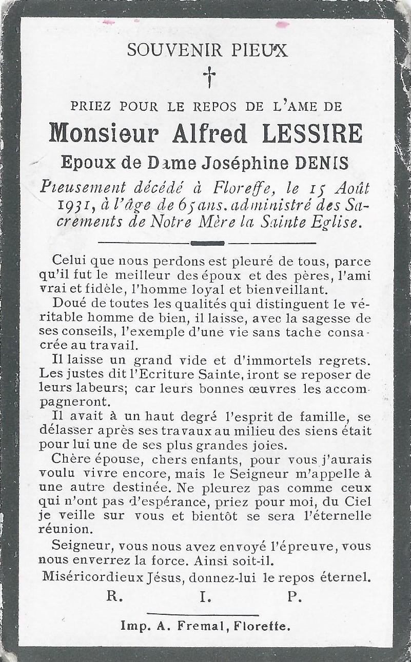 Floriffoux – souvenirs mortuaires – les patronymes LESSIRE
