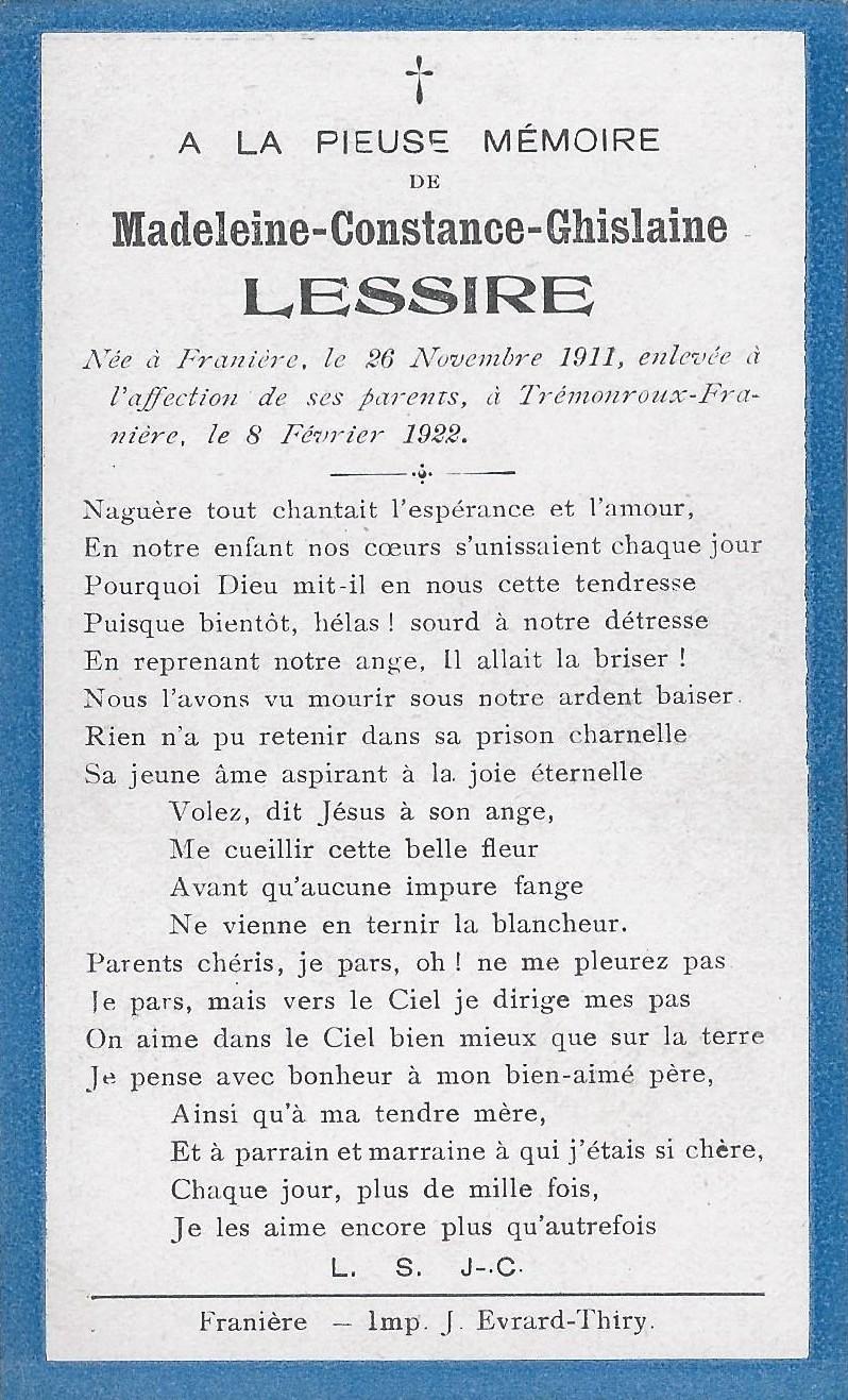 Franière – souvenirs mortuaires – les patronymes LESSIRE
