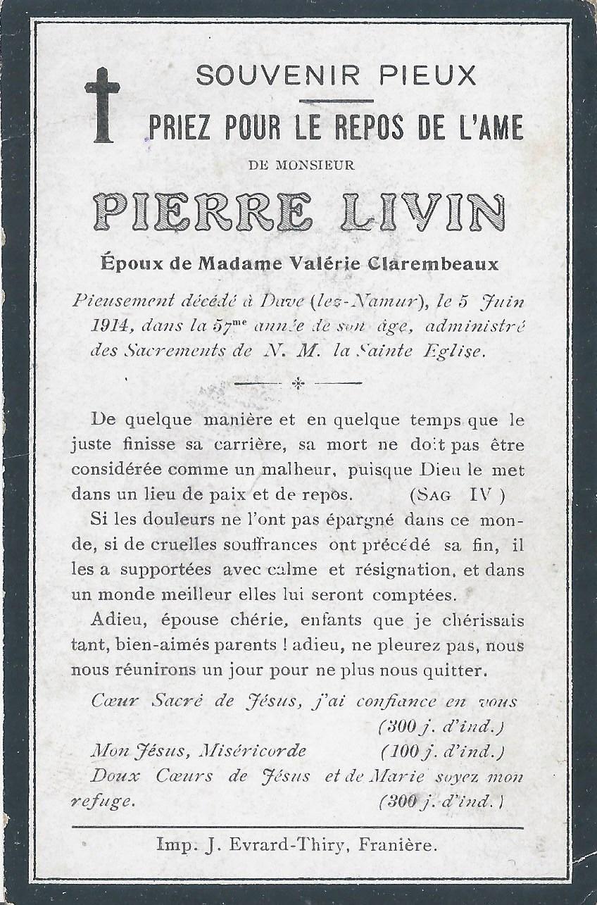 Franière – souvenirs mortuaires – les patronymes LIVIN