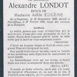 Floriffoux – souvenirs mortuaires – les patronymes LONDOT