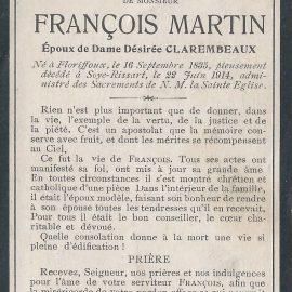 Soye – souvenirs mortuaires – les patronymes MARTIN
