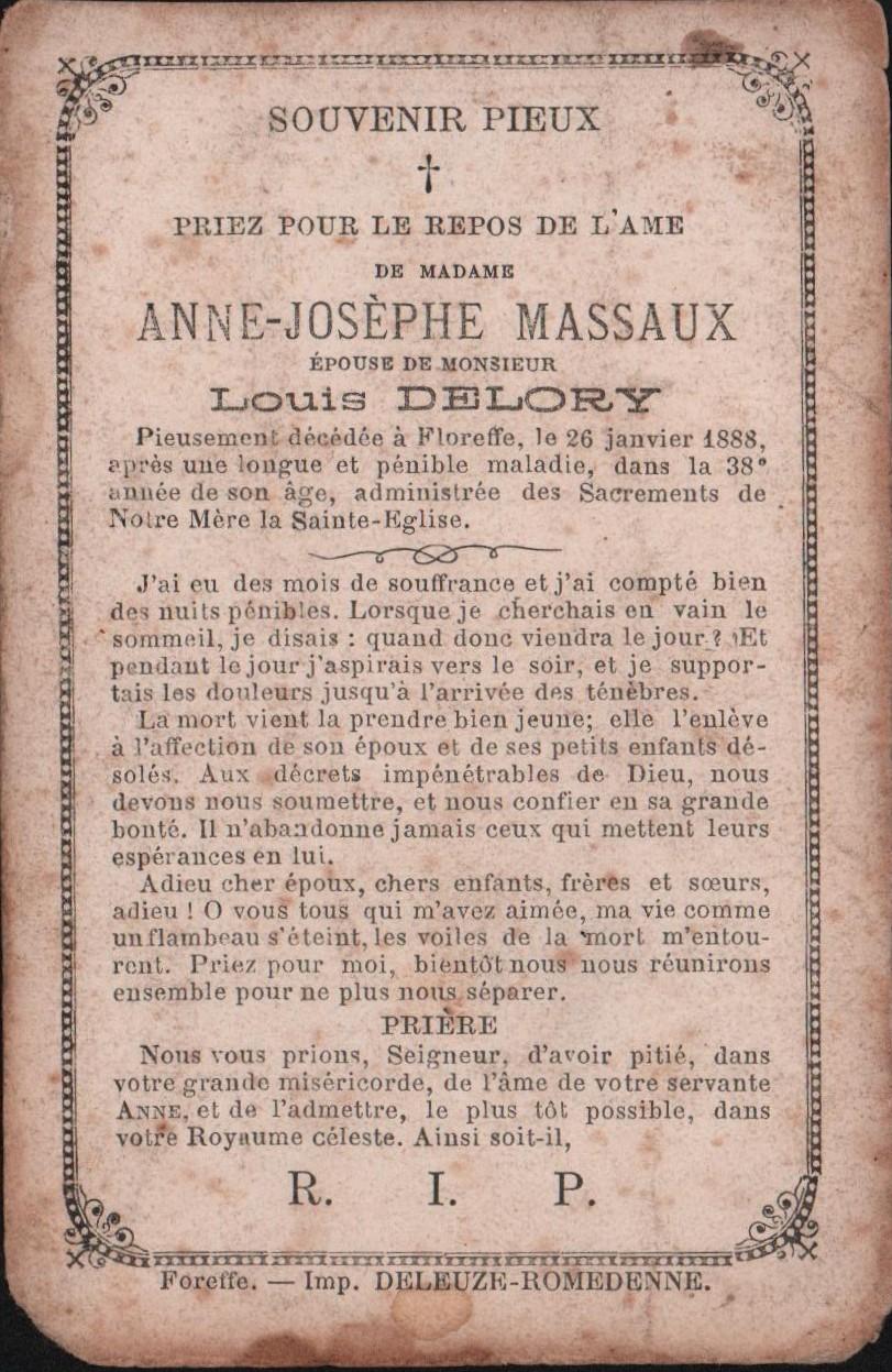 Floreffe – souvenirs mortuaires – les patronymes MASSAUX
