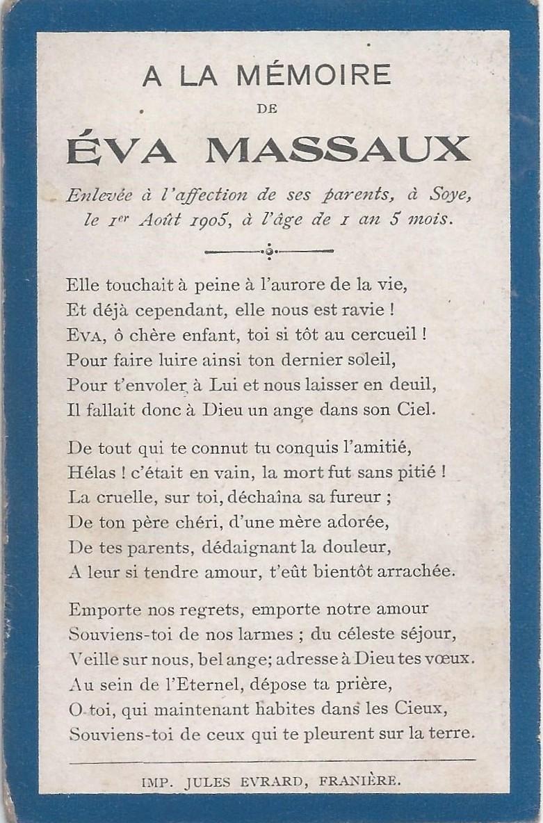 Soye – souvenirs mortuaires – les patronymes MASSAUX