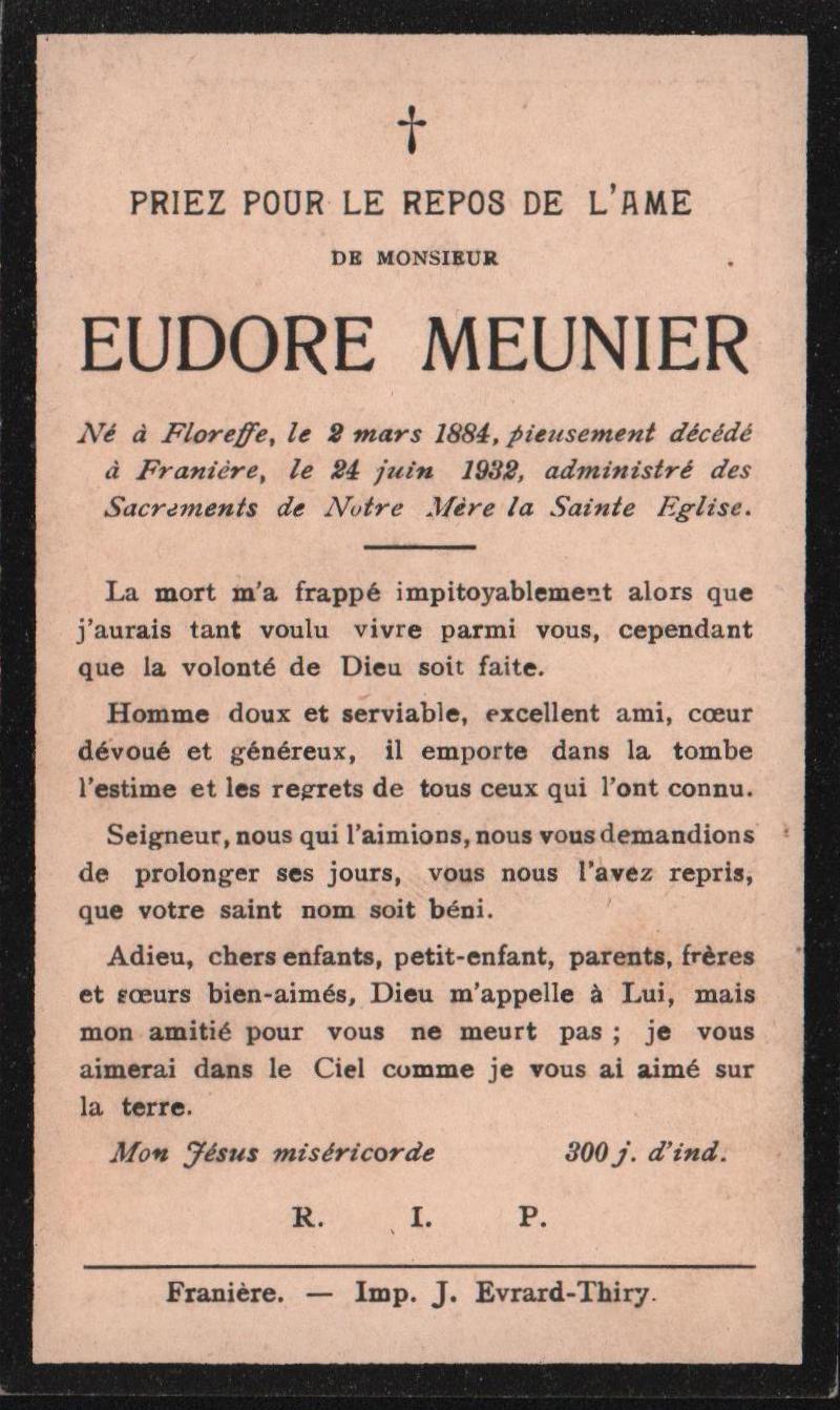 Franière – souvenirs mortuaires – les patronymes MEUNIER