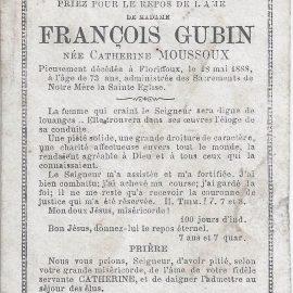 Floriffoux – souvenirs mortuaires – les patronymes MOUSSOUX
