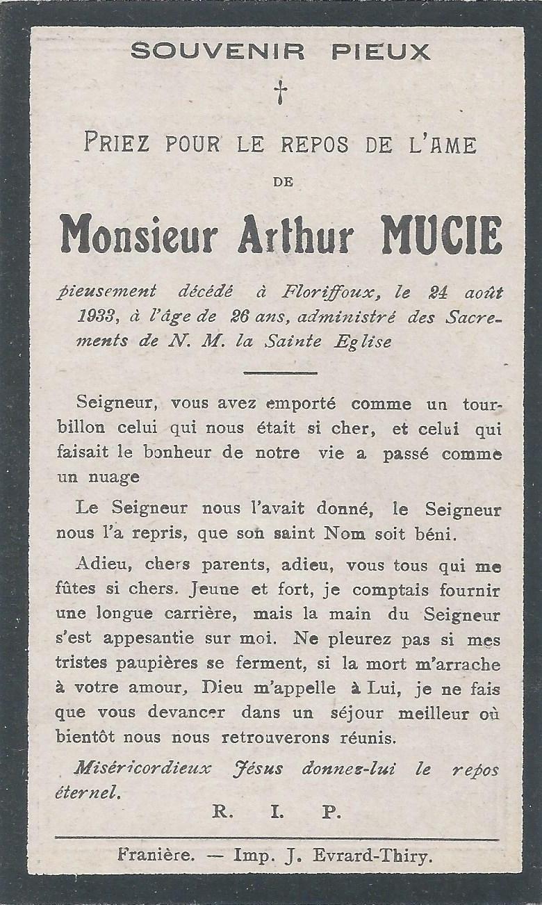 Floriffoux – souvenirs mortuaires – les patronymes MUCIE