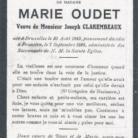 Franière – souvenirs mortuaires – les patronymes OUDET