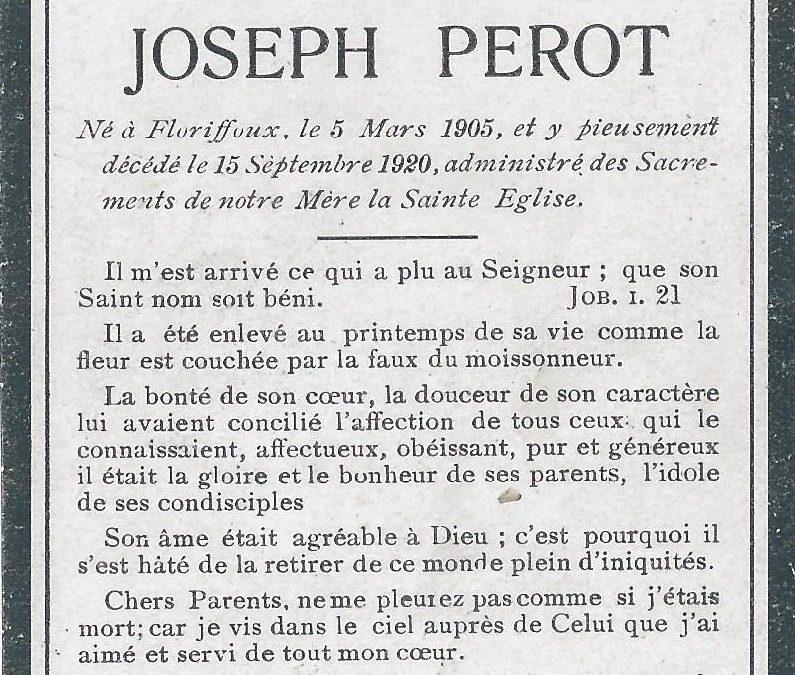 Floriffoux – souvenirs mortuaires – les patronymes PEROT
