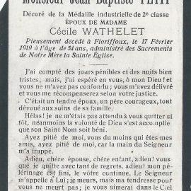 Floriffoux – souvenirs mortuaires – les patronymes PETIT