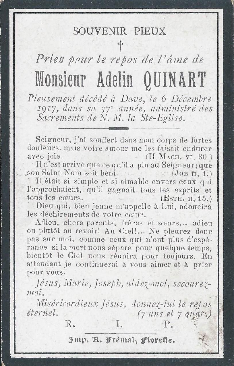 Floriffoux – souvenirs mortuaires – les patronymes QUINART