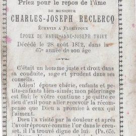 Floriffoux – souvenirs mortuaires – les patronymes RECLERCQ