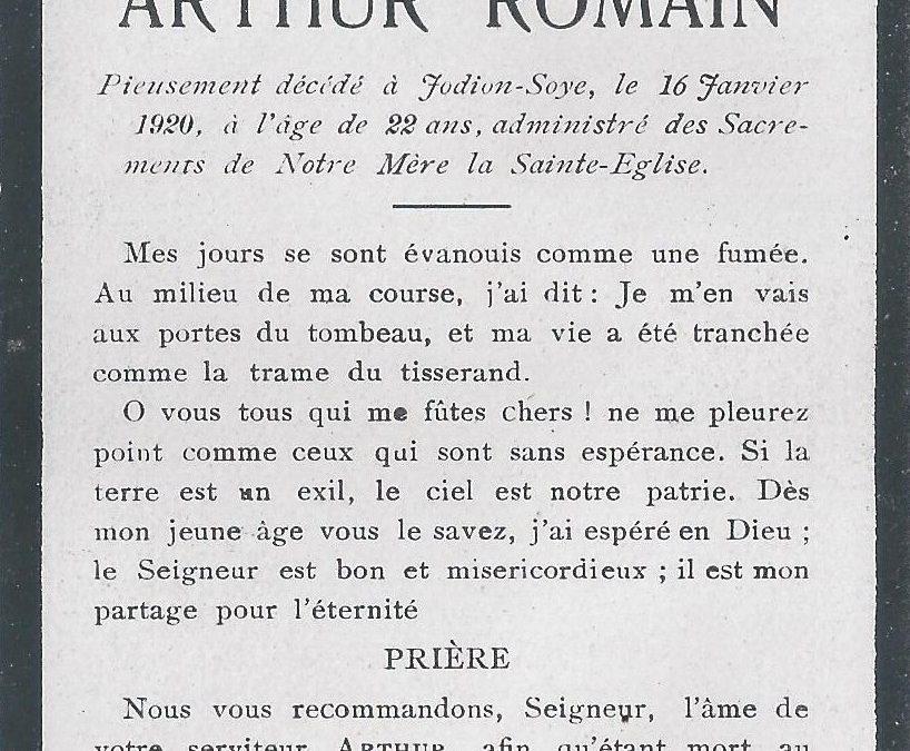 Soye – souvenirs mortuaires – les patronymes ROMAIN