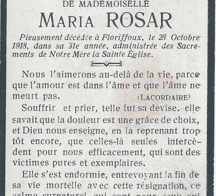 Floriffoux – souvenirs mortuaires – les patronymes ROSAR