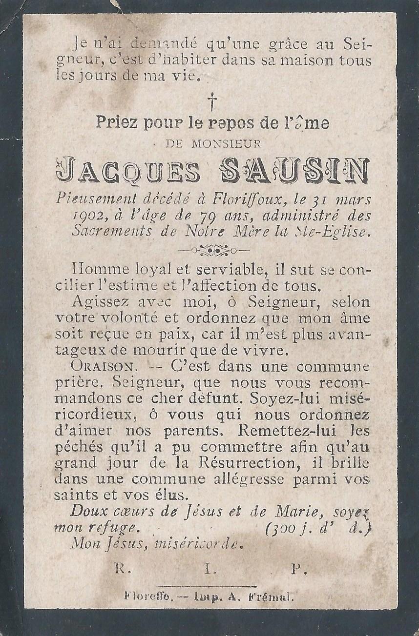 Floriffoux – souvenirs mortuaires – les patronymes SAUSIN