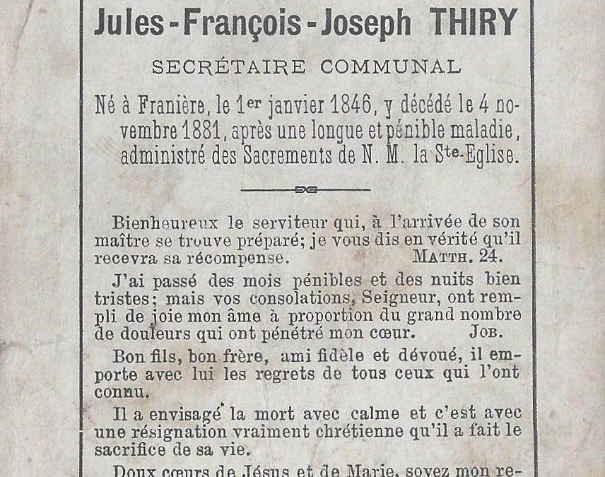 Franière – souvenirs mortuaires – les patronymes THIRY