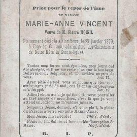 Floriffoux – souvenirs mortuaires – les patronymes VINCENT