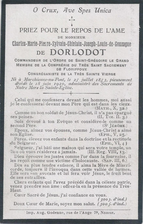 Floriffoux – souvenirs mortuaires – les patronymes de DORLODOT