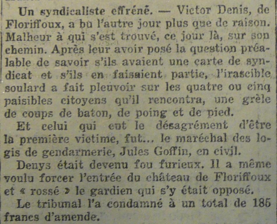 Floriffoux – faits divers de l'année 1921