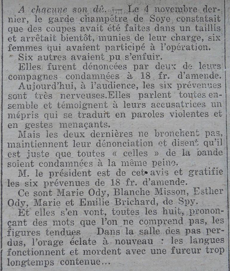 Soye – faits divers de l'année 1921