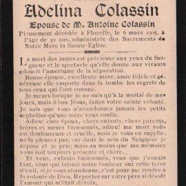 Floreffe – souvenirs mortuaires – les patronymes COLASSIN