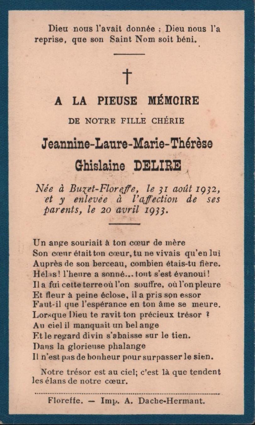 Floreffe – souvenirs mortuaires – les patronymes DELIRE