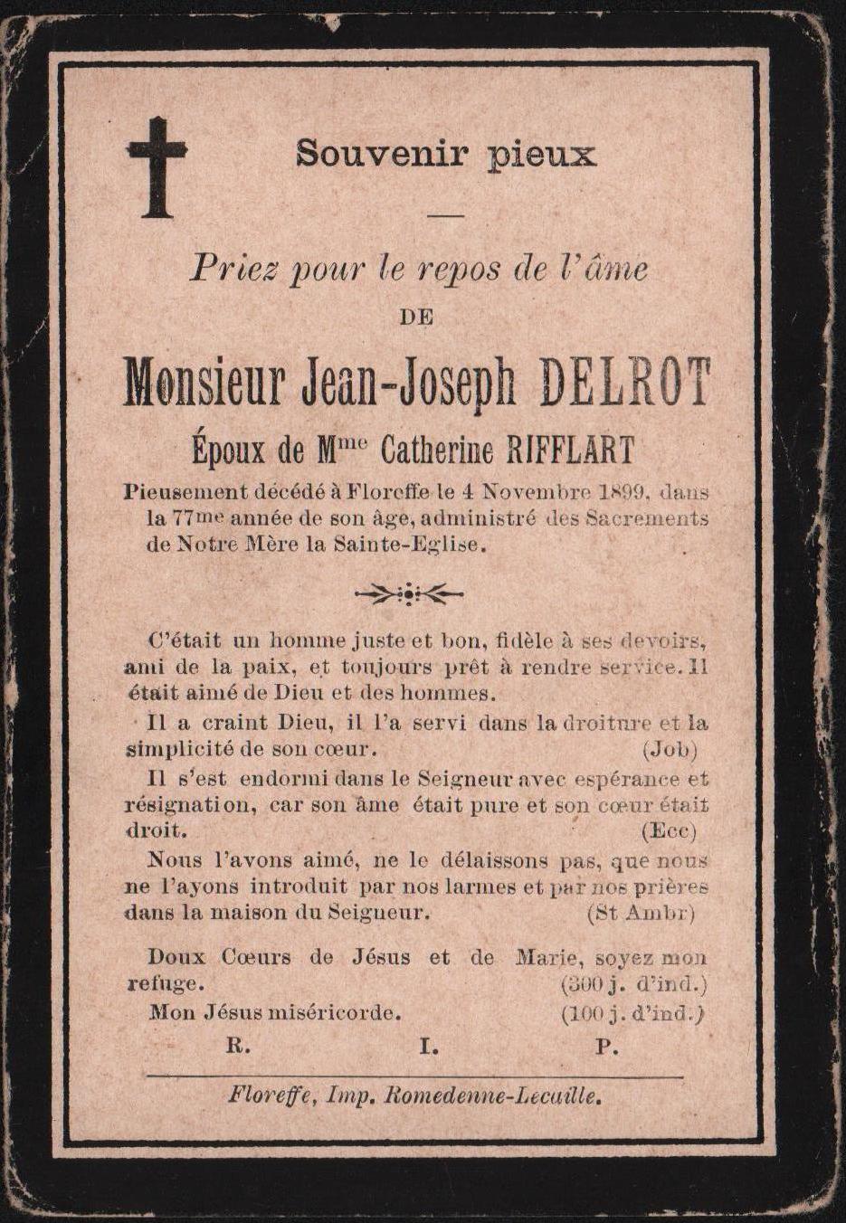Floreffe – souvenirs mortuaires – les patronymes DELROT