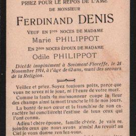 Floreffe – souvenirs mortuaires – les patronymes DENIS