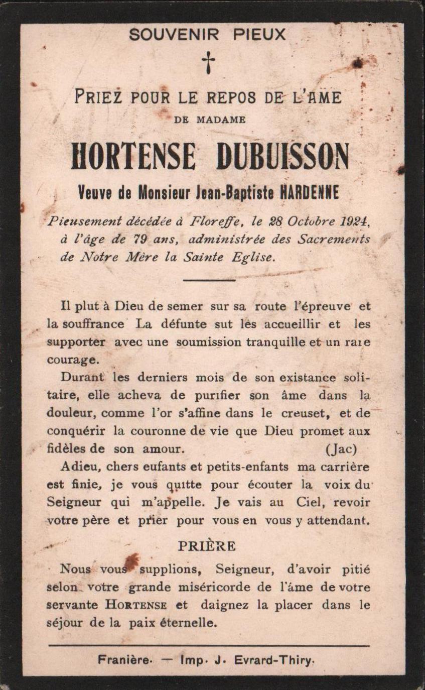 Floreffe – souvenirs mortuaires – les patronymes DUBUISSON
