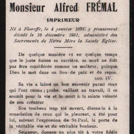 Floreffe – souvenirs mortuaires – les patronymes FREMAL