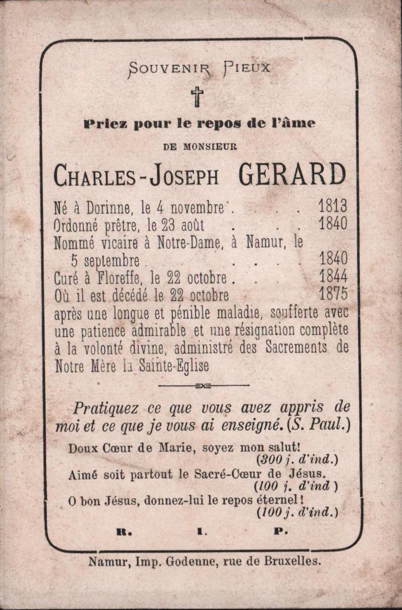 Floreffe – souvenirs mortuaires – les patronymes GERARD