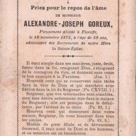 Floreffe – souvenirs mortuaires – les patronymes GOREUX