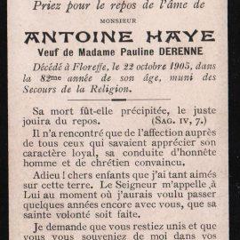 Floreffe – souvenirs mortuaires – les patronymes HAYE
